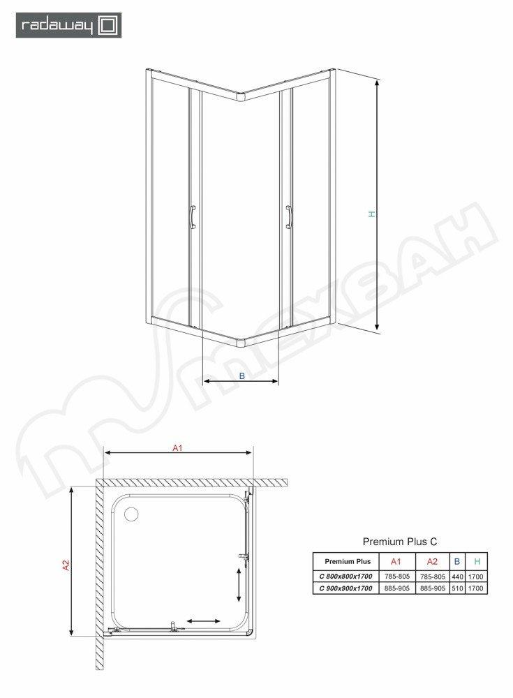 Прямоугольная однодверная распашная душевая кабина Radaway Fuenta KDJ 381044-01R