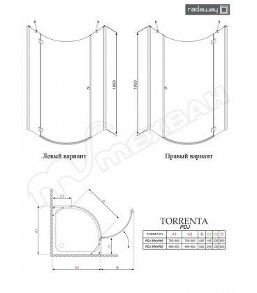 Полукруглая двухдверная распашная душевая кабина Radaway Almatea PDD