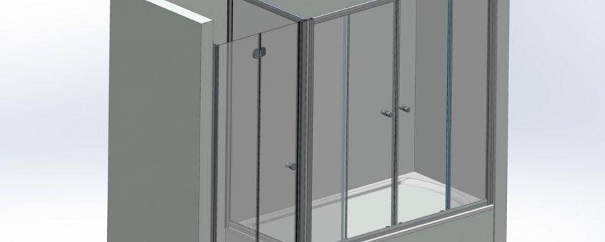 Спецзаказ шторка + дверь для душа